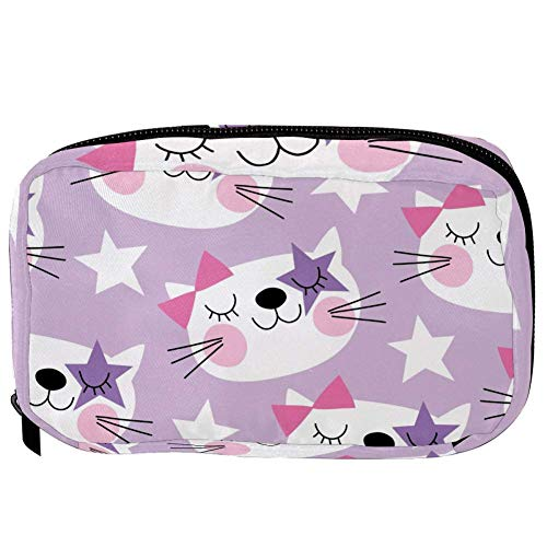 TIZORAX Cosmetic Bags Cute Cat With Stars Handy Toiletry Travel Bag Organizer Makeup Pouch for Women Girls
