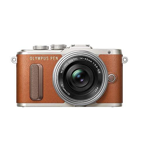 Olympus PEN E-PL8 Kit, Micro Four Thirds Systemkamera (16 Megapixel, Bildstabilisator, elektronischer Sucher, FHD Video) + M.Zuiko 14-42mm EZ Zoomobjektiv, braun/schwarz