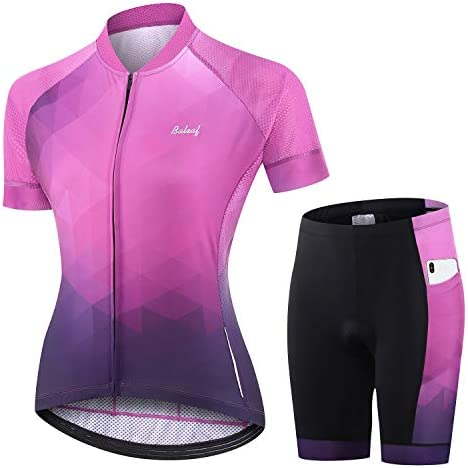 BALEAF Women s Cycling Jersey Set Short Sleeve with 3D Padded Bike Shorts Breathable Shirt Pockets product image