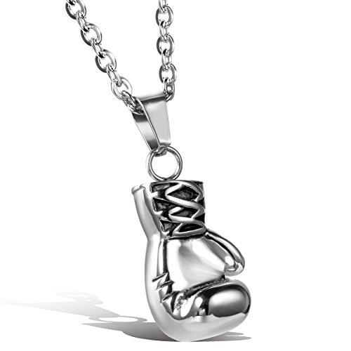 OIDEA Herren Halskette mit Anhänger, Edelstahl Boxhandschuhe Männer Anhänger mit 55cm Kette, Silber (Silber)