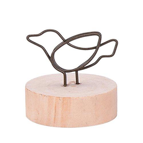 かわいい 木製 ナチュラル ウッド 写真 フォト クリップ ホルダー メモ スタンド カードホルダー メッセージ カード 立て メモ挟み インテリア (011 bird �@)