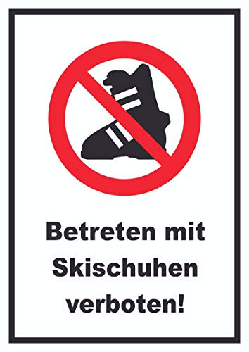 HB-Druck Betreten mit Skischuhen verboten! Schild A6 Rückseite selbstklebend