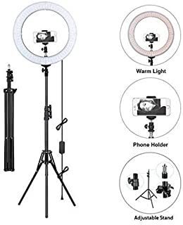 """Venganza 12 Inches Big LED Ring Light for Camera, Phone tiktok YouTube Video Shooting and Makeup, 12"""" inch Ring Light with 7 Feet Long Foldable and Lightweight Tripod Stand"""