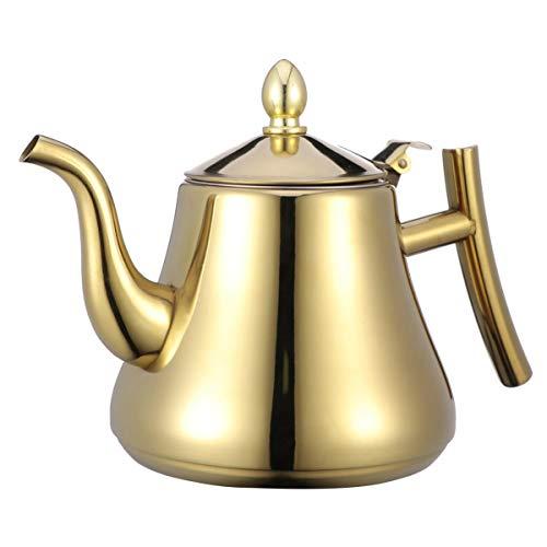 UPKOCH Edelstahl teekanne wasserkocher hochwertiger teekessel mit Ei für Tee kaffeegeschmack aufgegossene getränke golden 1l