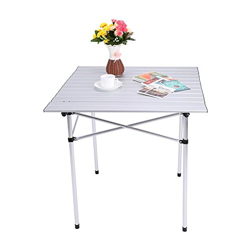 Mesa de picnic para acampar al aire libre, mesa plegable portátil al aire libre para acampar, cenar, picnic, pesca, senderismo, etc.Resistente, antideslizante, de aluminio, para acampar, jardín, mesa