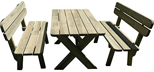 Platan Room Gartengarnitur Set aus massivem Kiefernholz 180 cm breit Tisch & Zwei Bänke Gartenmöbel (Set 1 (Tisch + 2 Bänke), 180 cm)
