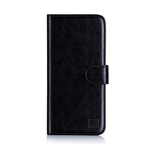 32nd PU Leder Mappen Hülle Flip Hülle Cover für Nokia 1 (2018), Ledertasche hüllen mit Magnetverschluss & Kartensteckplatz - Schwarz