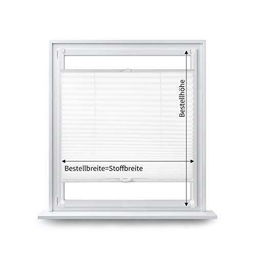 Eurohome Gardinenbox - Estor plisado (fijación sin agujeros, 95 x 130 cm), color blanco