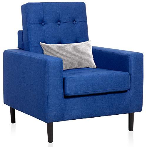 Sedia con braccioli quadrati in tessuto per soggiorno, camera da letto o appartamenti, colore blu scuro