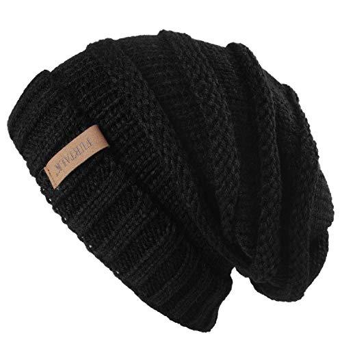 FURTALK Gestrickte Winter Slouchy Beanie Mütze Oversized Unisex Crochet Cable Ski Cap Baggy Slouch Hüte für Frauen Männer, Schwarz, Einheitsgröße