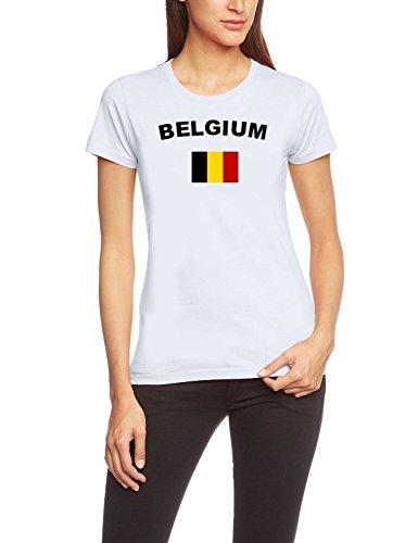 Coole-Fun-T-Shirts EM 2016 Football Toutes Les Nations T-Shirt Femme s M L XL XXL Tous Les participants Pays De La Em 2016 Large - Belgique