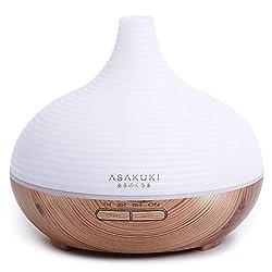 ASAKUKI Aroma Diffuser 300ml, Premium Ultraschall Luftbefeuchter Aromatherapie Diffusor für Ätherische Öle mit 7-farbigem LED-Licht, BPA-Free für Schlafzimmer, Büro, Spa