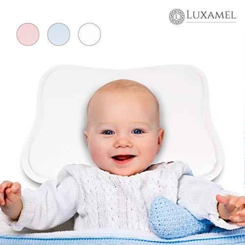 Luxamel | TESTSIEGER Orthopädisches Babykissen weiß | Ergonomisches gegen Plattkopf und Verformung | Für Säuglinge und Kleinkinder | 100% Schadstofffrei