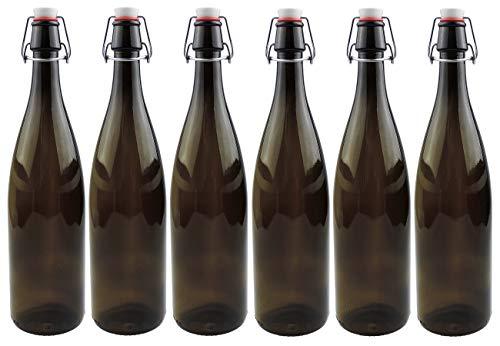 mikken 6 x braune Glasflasche 1 Liter mit Bügelverschluss aus Porzellan, inkl Etiketten