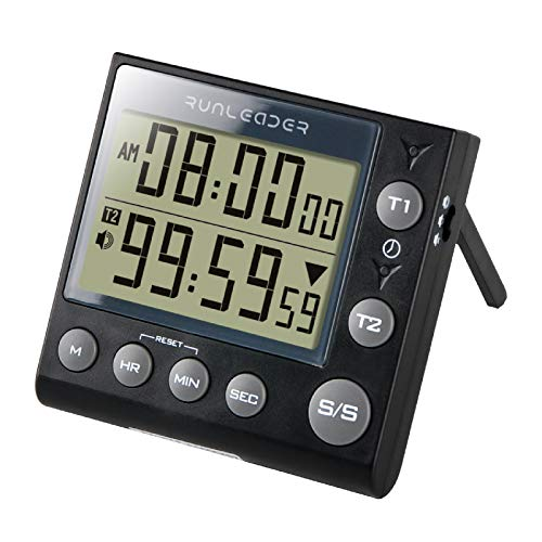Runleader Digital Dual Kitchen Timer, Bakery Timer, Count Down Count up Timer with Magnetic Back, Start Stop, Alarm recordator, for Cooking Learning Sport Office (batería incluida) (KT002-BK)