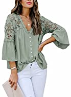 Design:Womens flare sleeve blouse has delicate lace crochet at upper back, bell sleeve and v neckline, it looks more silent and elegant with a little sexy. Material: Lace tops for women made of polyester and spandex , good skin feeling, comfortable,s...