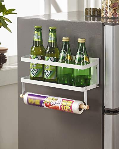 Estantería para especias magnética, estantería para colgar en la pared, para frigorífico, con imán, para especias, sin agujeros, magnética, plegable, 1 piso (color blanco)