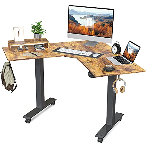 FEZIBO Dual Motor L-Shaped Electric Standing Desk, 48 Inches Height Adjustable Corner Desk, Full Sit Stand Home Office Table with Splice Board, Black Frame/Rustic Brown Top