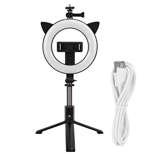Selfie Stick Luz de relleno, Bluetooth para teléfono móvil Selfie Stick, con luz de relleno LED de 6 pulgadas Trípode integrado Soporte activo, Apertura grande de 6 pulgadas, 3 modos de iluminación