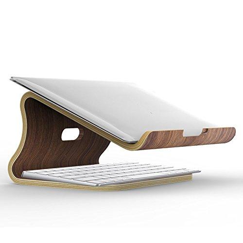 SAMDI Holz Laptop Stehen/Universelle Laptop Halter Elegante Holz Notebookständer PC Halterung Kühlung Cooling Stand Haltewinkel Sockel für MacBook Air/Pro Retina (Schwarze Walnuss)