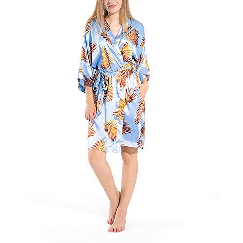 KKCD Frauen-Kimono-Robe, Sommer-Dünne Imitate Silk Pyjamas Cardigan Startseite Pyjamas Printed Thin Bridesmaid Morgenmantel,Blau,S