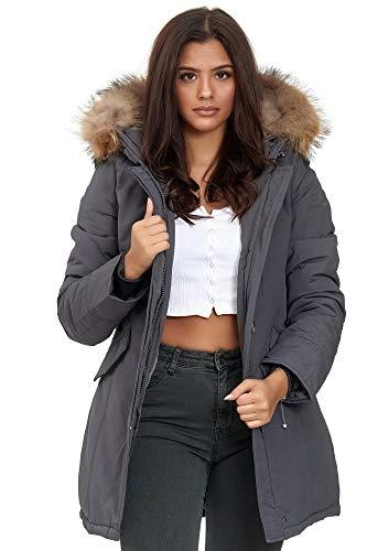 Elara Damen Winterparka Echt Fell Jacke Mantel Dunkelgrau Chunkyrayan XH-227-7 Grau 42/XL