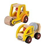 KIDS TOYLAND Wooden Push Car Toys for Infants 12-18 Months, 2 Pcs Baby Vehicle Toys Hand Push Car Toys for 1 Year Old Boys Girls
