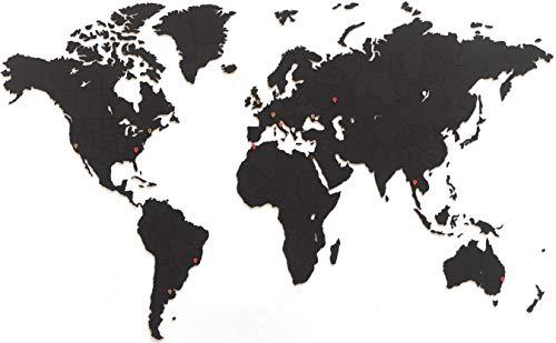 MiMi Innovations - Weltkarte True Puzzle Wand - Hochwertig Holz Weltkarte - Wandbilder/Wandsticker - 150 x 90 cm - Schwarz