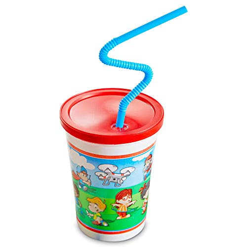 [50 Pack] 12 OZ Plastic Kids Cup with Lid and Straw - Spill Proot, BPA Free & Food Safe Fun Cartoon Cups with Reusable Red Lids and Curly Straws for Parites, Cold Frozen Drinks, Milk, Water, Juice