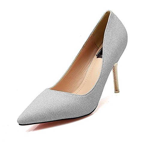Three Second Fashion Simple Women's Pull-On Spikes-Stilettos Blend Materials Solid Pointed-Toe Pumps-Shoes, Silver, 36