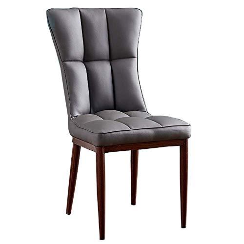 WSDSX Stuhl Retro Side Dining Office Lounge Chair Sitz mit hoher Rückenlehne Kunstleder- und Metalldesign Gepolsterter Wohnzimmer-Loungesessel Lagergewicht 150 kg 47 x 44 x 96 cm (Farbe: Grau