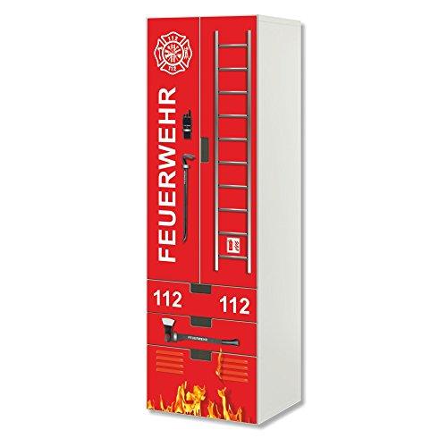 Stikkipix Feuerwehr Möbelfolie | SC3K02 | passend für die Kinderzimmer Aufbewahrungskombination STUVA von IKEA | Klebe-Folie passgenau für Schrank und Kommode mit 3 Fächern | Möbel Nicht Inklusive
