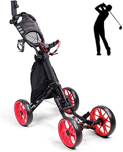 Great Deal! BZLLW Golf Push Cart,4 Wheel Folding Lightweight Golf Trolley Push Pull Golf Cart Golf C...