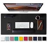 Aothia Tapis de bureau,tapis de souris,tapis de bureau,80x40cm,buvard de bureau en cuir PU antidérapant, protecteur de bureau pour ordinateur portable pour la maison et le bureau(noir)