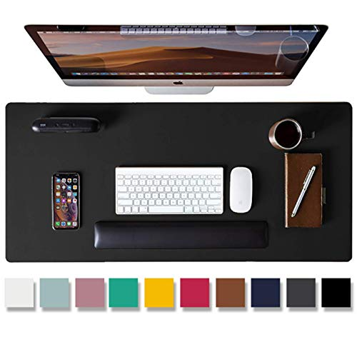 Leather Desk Pad ProtectorMouse PadOffice Desk Mat NonSlip PU Leather Desk BlotterLaptop Desk PadWaterproof Desk Writing Pad for Office and Home Black315quot x 157quot