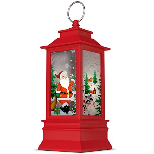 Decorative Christmas Lanterns – LED Candle Holder for Christmas – Candle Lantern Christmas Centerpieces for Tables – White and Red – Lovely Creative Printing – Ideal for Party, Garden Décor, Wedding