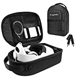 Oculus Quest 2 Carrying Case Fits All Elite Strap, Hard Oculus Quest Accessories Case, VR Gaming Headset and Touch Controllers Accessories Storage Bag Suitable for Home Storage and Travel