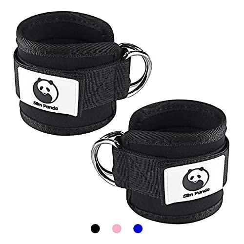 Slim Panda 1 Paar fußschlaufe kabelzug, Ankle Straps, Verstellbarer fußmanschetten kabelzug mit doppelten D-Ringen und Neoprenstütze,für Fitness Training am Kabelzug (Negro)
