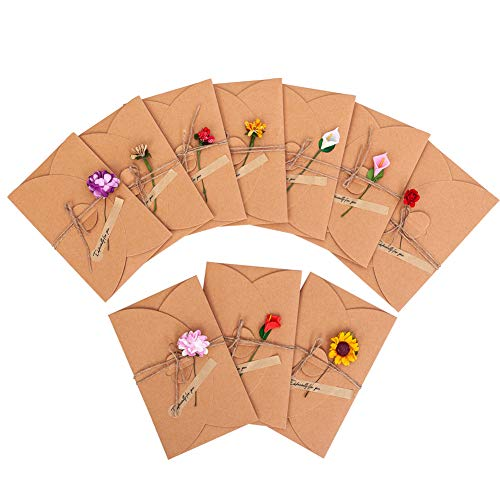 10 Packs Kraft Paper Invitation Greeting Note Cards with Envelopes - Creative Flowers Design | Perfect for Weddings,Bithday,Christmas,Baby Shower,Stationery for General, Office (4.3