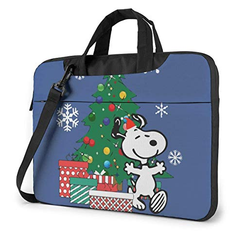 Happy Snoopy Around The Christmas Laptop Shoulder Bag,Shockproof Slim Computer Carry Case 13'/14'/15.6'