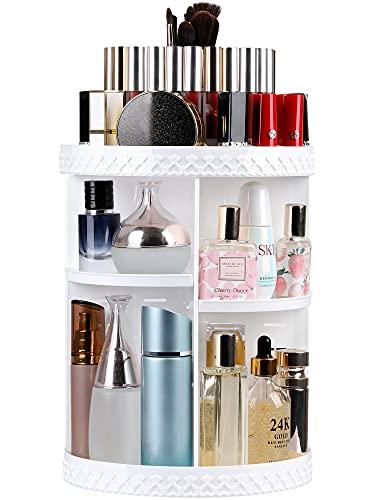 Syntus Rotating Makeup Organizer, 360 Adjustable Cosmetic Carousel Spinning Holder Rack, Large Capacity Makeup Storage Box Vanity Shelf Countertop for Bathroom, Lipsticks, Brushes, White