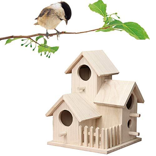 Hukz Hölzerne Vogel Nistkasten Bausatz, Einflugloch zum Aufhängen, Groß Vogelhaus Vogelhäuschen Handmade Bird House Für Meise Wellensittiche Rotkehlchen Nymphensittich Rotschwänzchen by