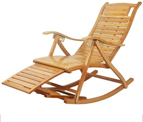 Sun Lounger Outdoor Bamboo Rocking Chair Patio Deck Chair Lounge Chair Foldable Adjustable Reclining Porch Rocker Backyard Chair xiuyun (Color : B)
