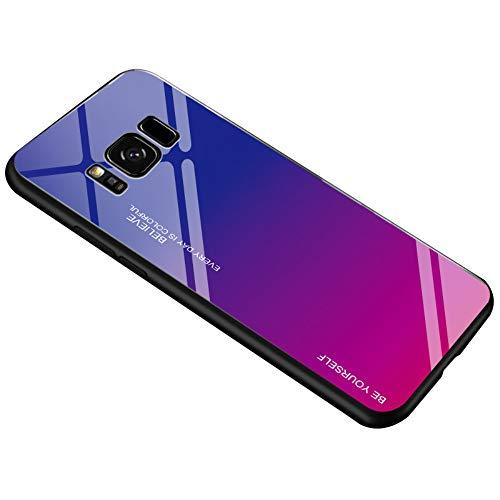Alsoar Ultra Sottile Custodia per cellulare per Galaxy S8 Plus Custodia Protettiva Gradient Vetro Temperato Cornice in Silicone Morbido Antiurti Antigraffio Vogue Cover Samsung S8 Plus (Viola Rosso)