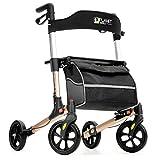 Planetwalk Premium Rollator Walker - Foldable Rolling Walker with Seat & Bag - Soft Wheels Comfort Design - Mobility Aids Gift for Senior (Rose Gold)