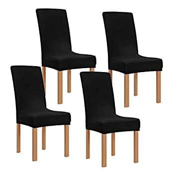 Obstal Black Stretch Spandex Dining Room Chair Covers – Set of 4 Universal Removable Washable Chair Seat Slipcovers Protector for Kitchen Ceremony Wedding Banquet Hotel and Party