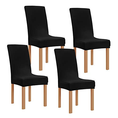 Obstal Black Stretch Spandex Dining Room Chair Covers – Set of 4 Universal Removable Washable Chair Seat Slipcovers Protector for Kitchen, Ceremony,...