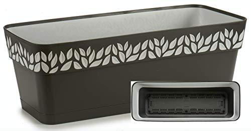 TIENDA EURASIA® Maceta de Plástico - Diseño Moderno Hojas - 3 en 1- Maceta + Bandeja Interior + Plato Maceta (Antracita, 50 cm Rectangular)