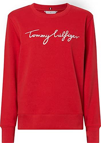 Tommy Hilfiger Regular Graphic C-nk Sweatshirt Sudadera, Rojo primario, XS para Mujer