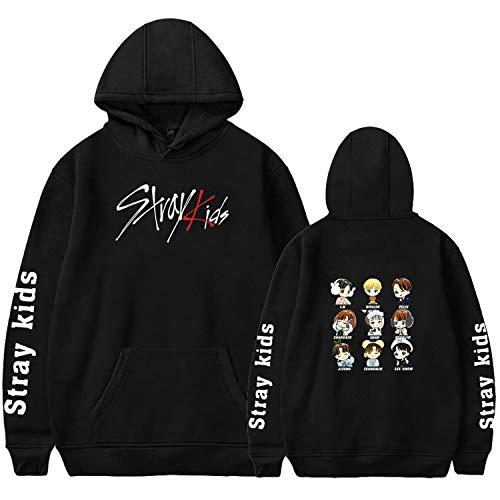 Xkpopfans Kpop Stray Kids Hoodie Felix Jisung Woojin Bangchan Sweater Jacket 4XL Black-C